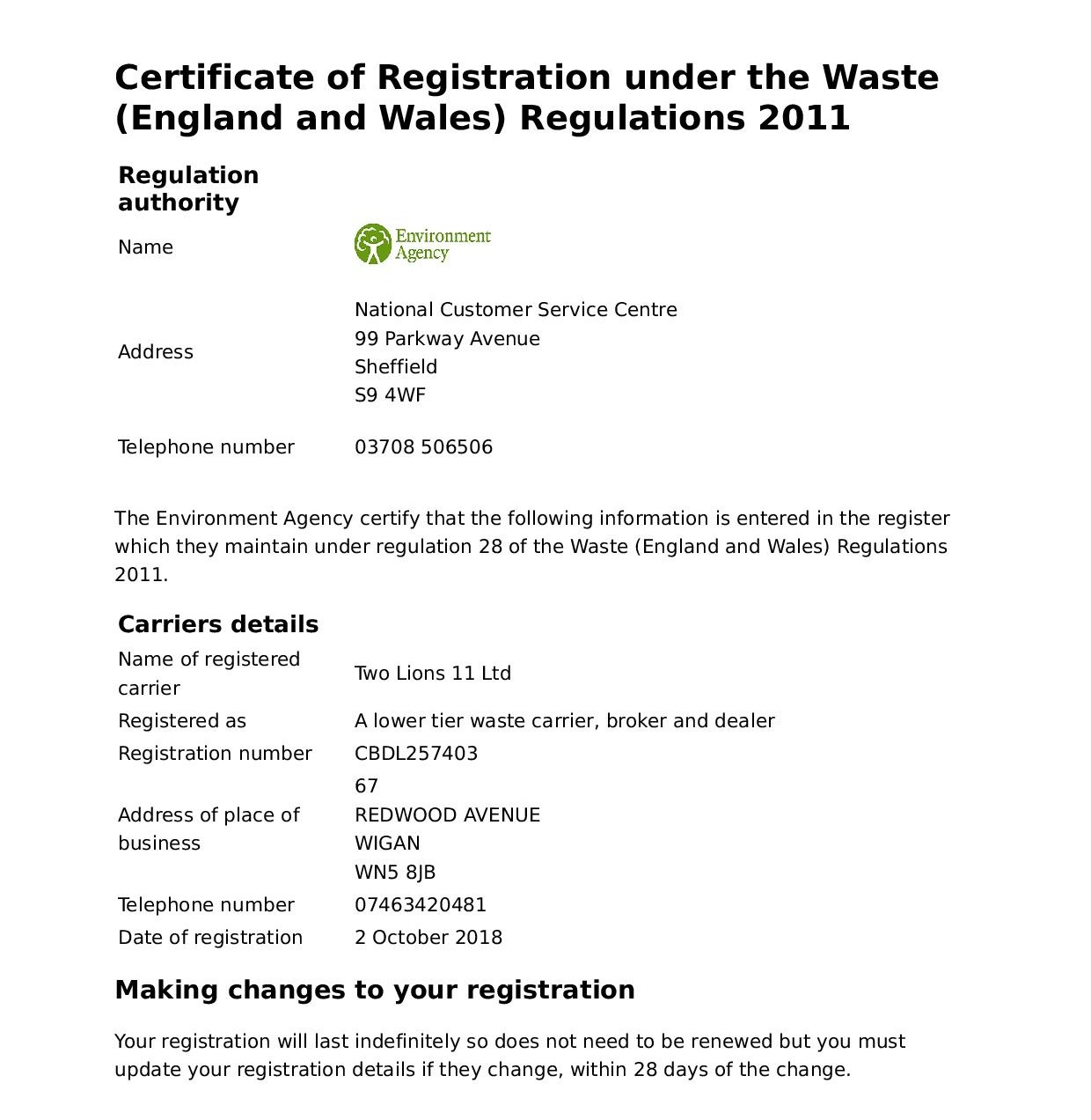 waste removal certificate